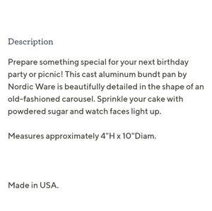 Nordic Ware Kitchen - Nordic Ware Cast Aluminum Carousel Bundt Pan